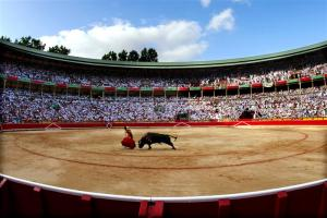 BULLFIGHTER DAVILA MIURA PERFORMS DURING SAN FERMIN FESTIVAL.